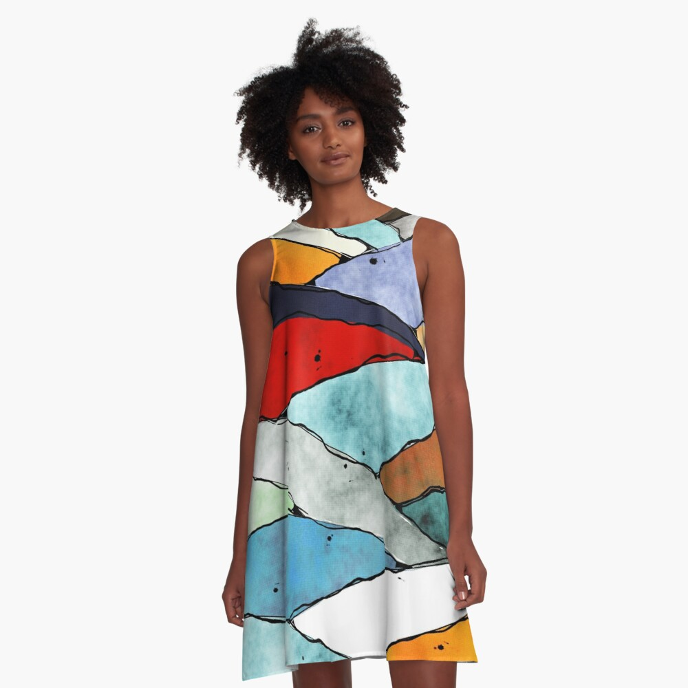 Angles of Textured Colors A-Line Dress