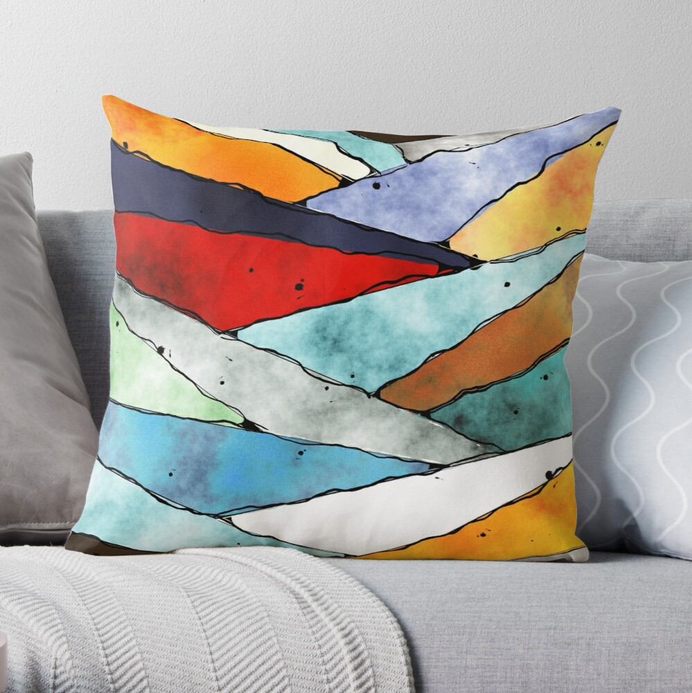 Angles of Textured Colors Throw Pillow