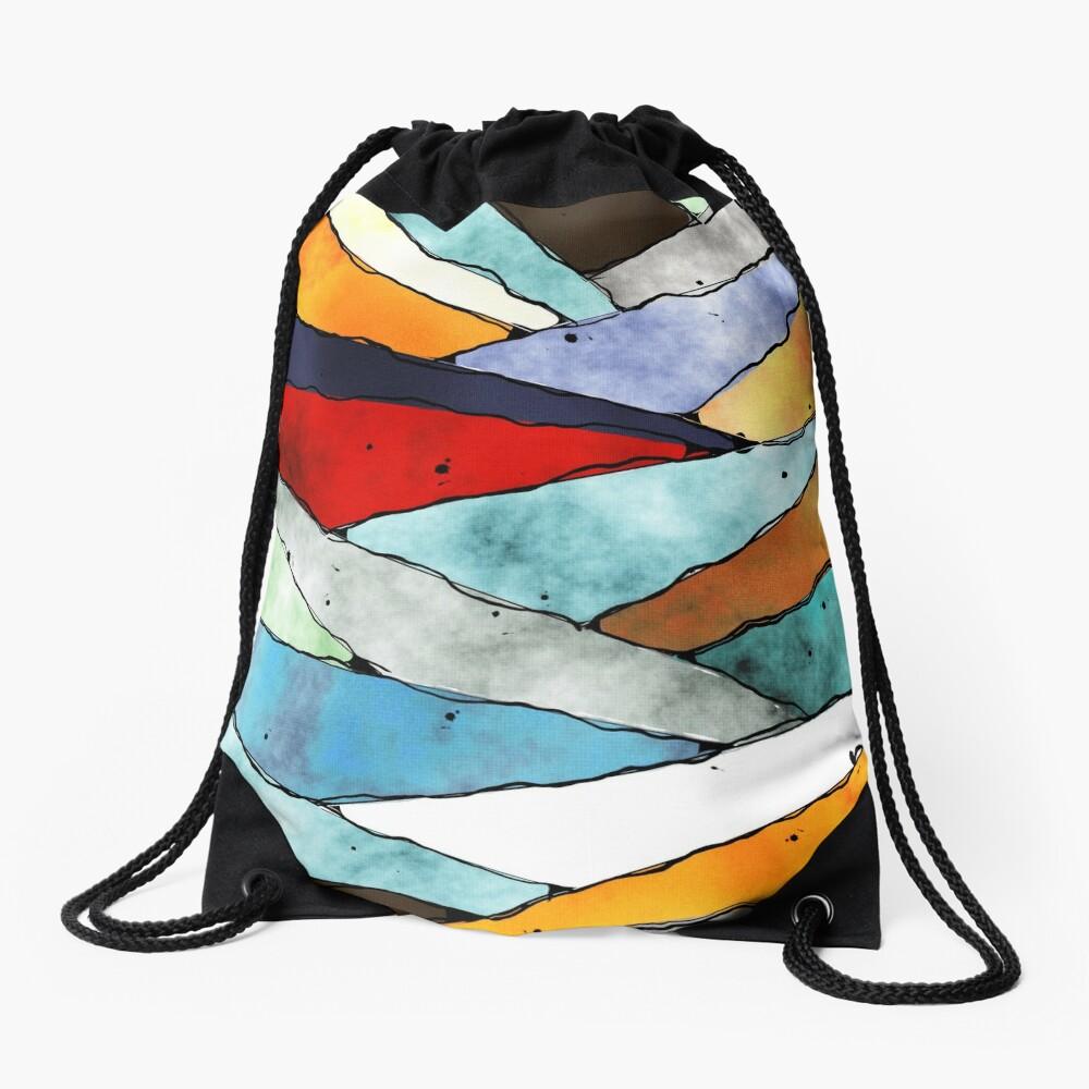 Angles of Textured Colors Drawstring Bag