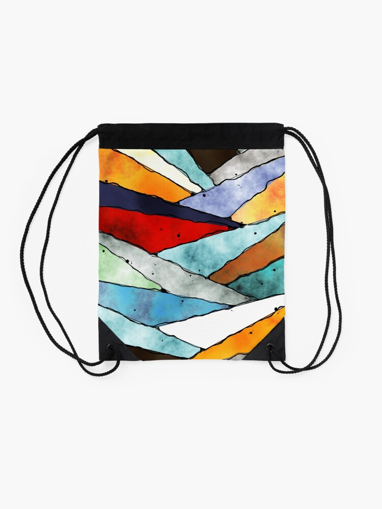 Alternate view of Angles of Textured Colors Drawstring Bag