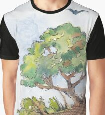 Watercolour and Hessian Collage Graphic T-Shirt
