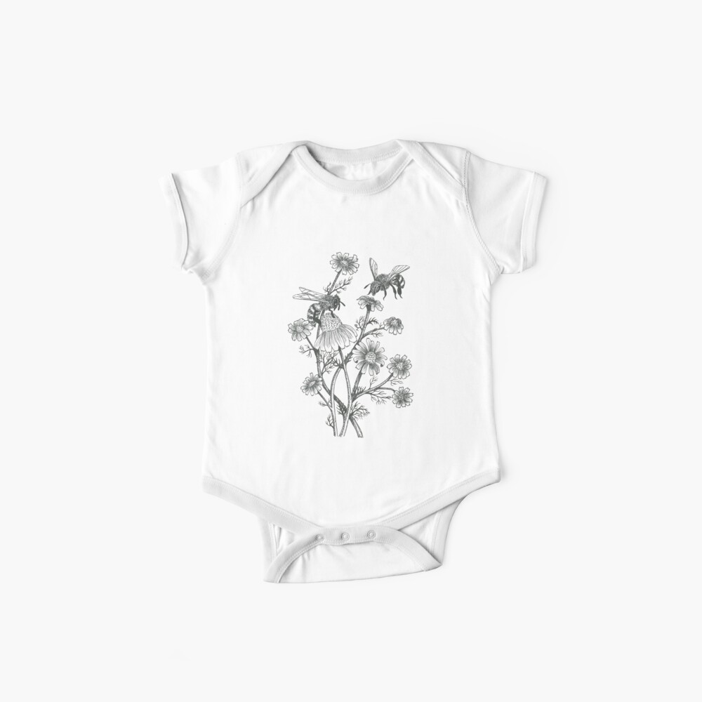 bees and chamomile on honey background  Baby One-Piece