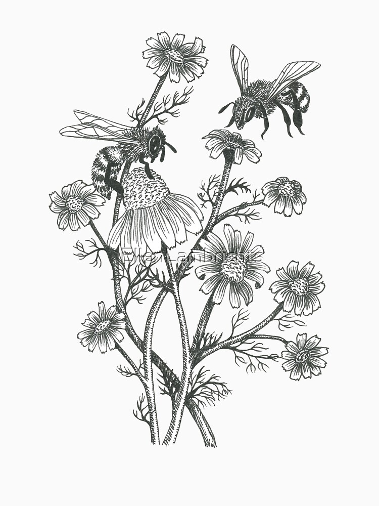 bees and chamomile on honey background  by EllenLambrichts