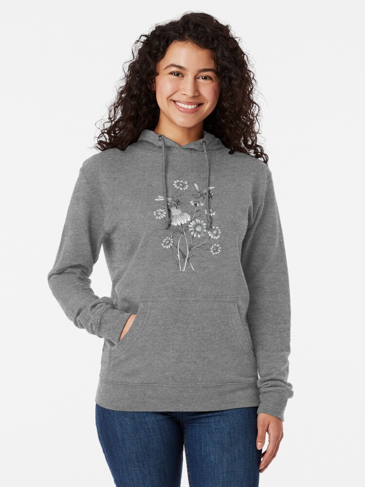 Alternate view of bees and chamomile on honey background  Lightweight Hoodie