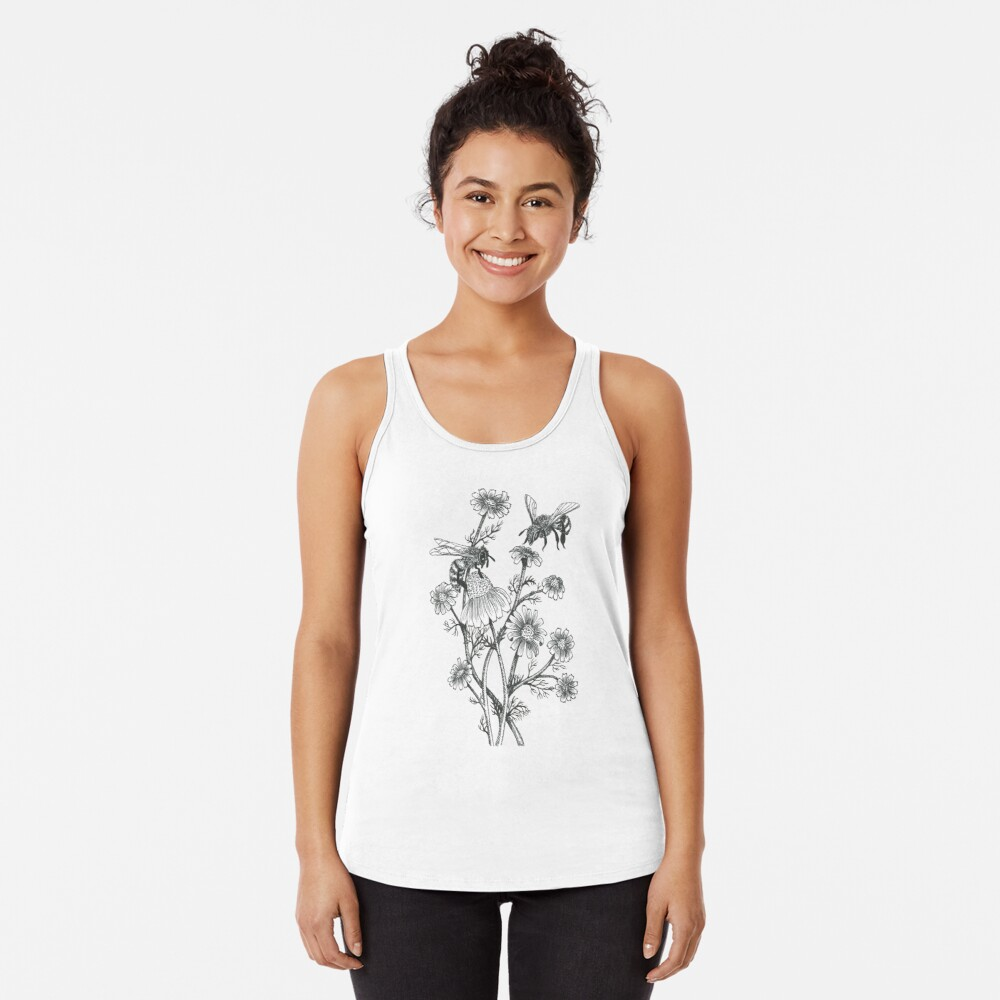 bees and chamomile on honey background  Racerback Tank Top