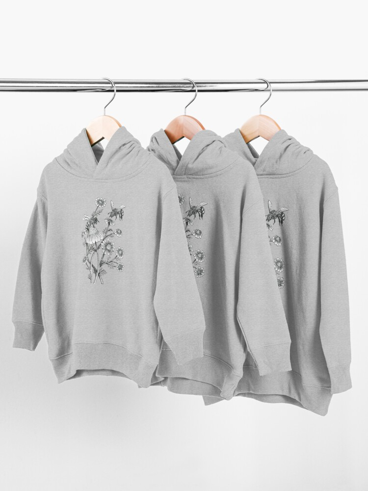 Alternate view of bees and chamomile on honey background  Toddler Pullover Hoodie