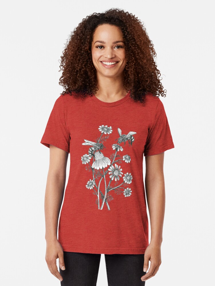 Alternate view of bees and chamomile on honey background  Tri-blend T-Shirt