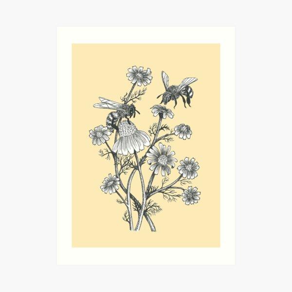las abejas y la manzanilla en el fondo de la miel Lámina artística