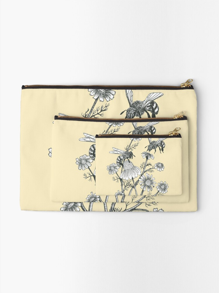 Alternate view of bees and chamomile on honey background  Zipper Pouch