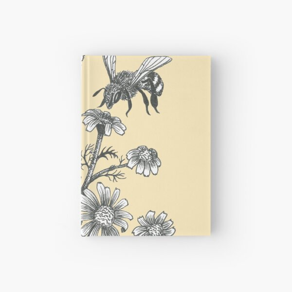 bees and chamomile on honey background  Hardcover Journal