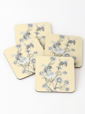 bees and chamomile on honey background  Coasters