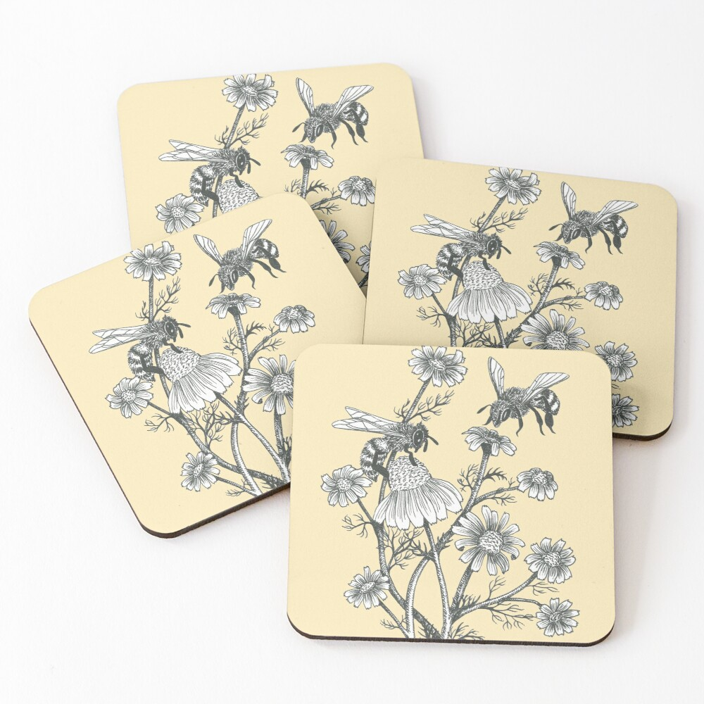 bees and chamomile on honey background  Coasters (Set of 4)