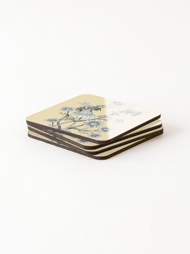 Alternate view of bees and chamomile on honey background  Coasters (Set of 4)