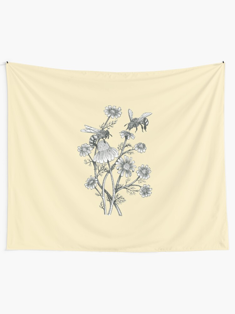 Alternate view of bees and chamomile on honey background  Tapestry