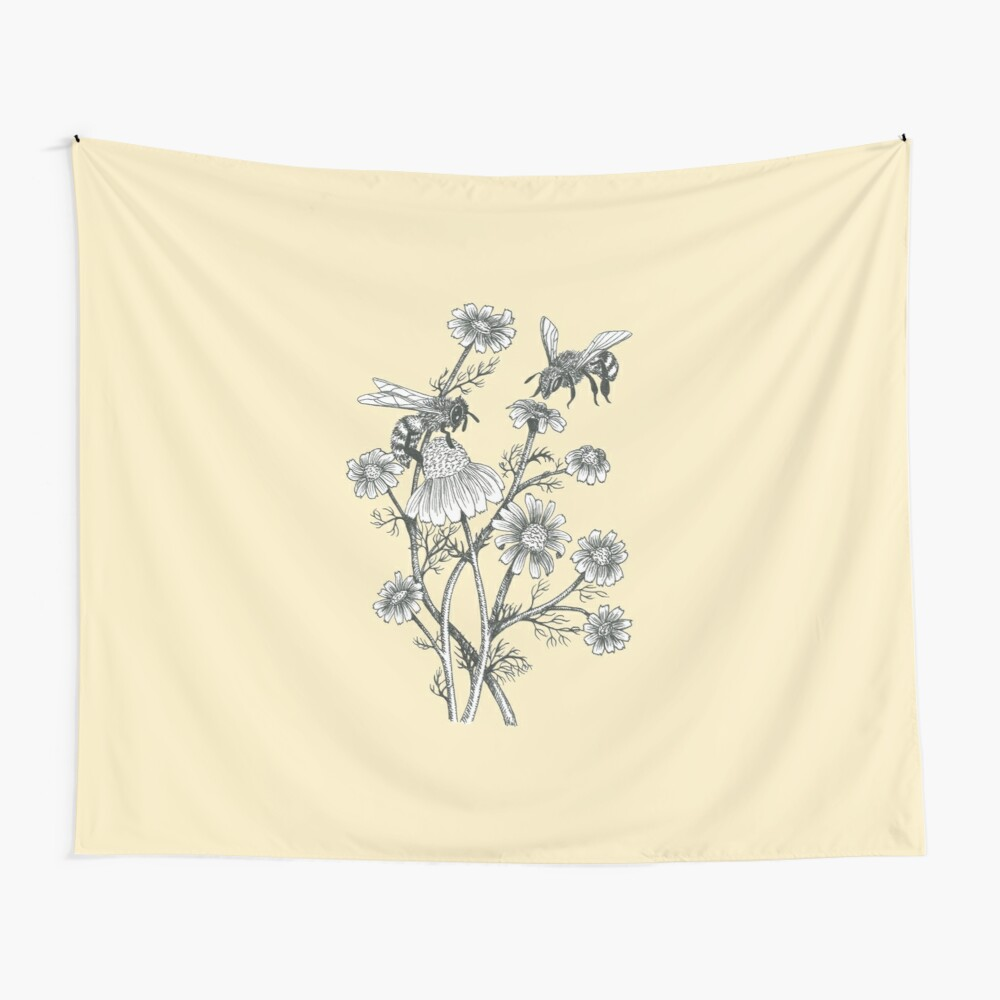 bees and chamomile on honey background  Wall Tapestry