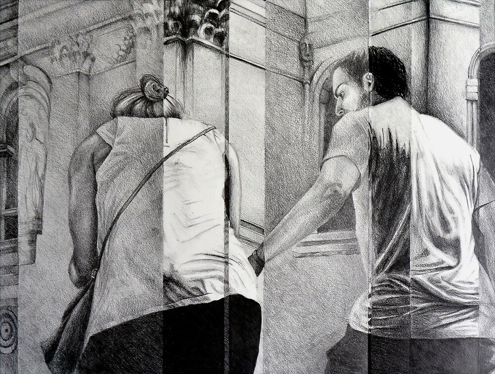 A Helping Hand, 2015, 50-65cm, graphite crayon on paper by oanaunciuleanu