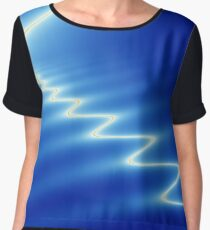 Lightning strike effect digital image in blue Chiffon Top