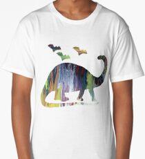Brontosaurus and bats Long T-Shirt