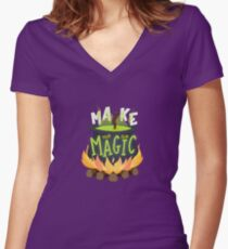 Make your own magic Women's Fitted V-Neck T-Shirt