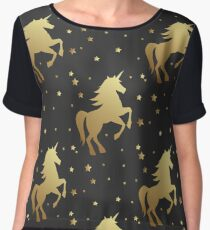 Unicorn silhouette seamless vector pattern. Golden magic unicorn with star on black background. Fairy horse pattern. Women's Chiffon Top