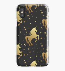 Unicorn silhouette seamless vector pattern. Golden magic unicorn with star on black background. Fairy horse pattern. iPhone Case/Skin