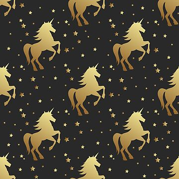 Unicorn silhouette seamless vector pattern. Golden magic unicorn with star on black background. Fairy horse pattern. by julkapulka