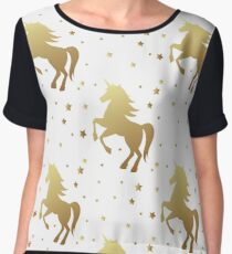 Unicorn silhouette seamless vector pattern. Golden magic unicorn with star on white background. Fairy horse pattern. Women's Chiffon Top