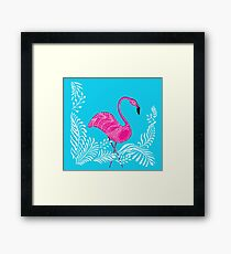 Pink flamingo with ornements Framed Print