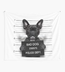 Funny French Bulldog Mugshot  Wall Tapestry