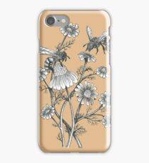 bees and chamomile on caramel background iPhone Case/Skin