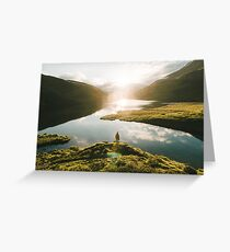 Switzerland Mountain Lake Sunrise - Landscape Photography Greeting Card