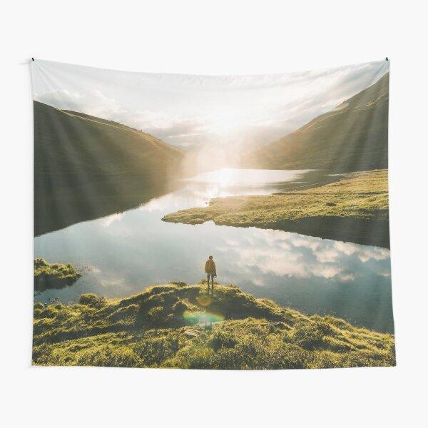 Switzerland Mountain Lake Sunrise - Landscape Photography Tapestry