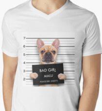 Funny Bulldog Mugshot Men's V-Neck T-Shirt