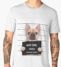 Funny Criminal Bulldog at The Police Station Mugshot Men's Premium T-Shirt