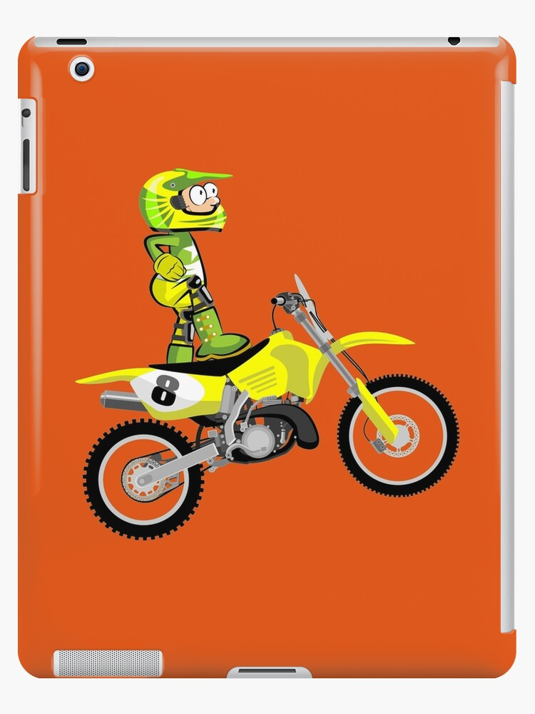 Motocross Green and Yellow rider - Cartoon Style by MegaSitioDesign