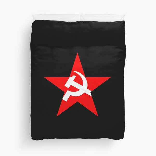 USSR Red Star. Russia, Russian, Hammer and sickle, in five leg star. Communism, on BLACK. Duvet Cover