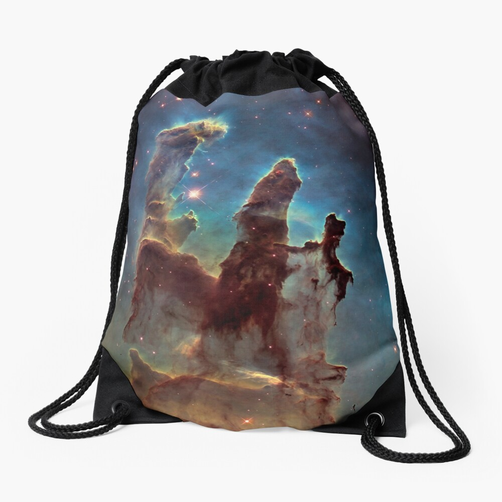 HUBBLE, NASA, Telescope, Pillars of Creation, Stars, Space, Cosmos, Cosmic, Eagle Nebula. Drawstring Bag