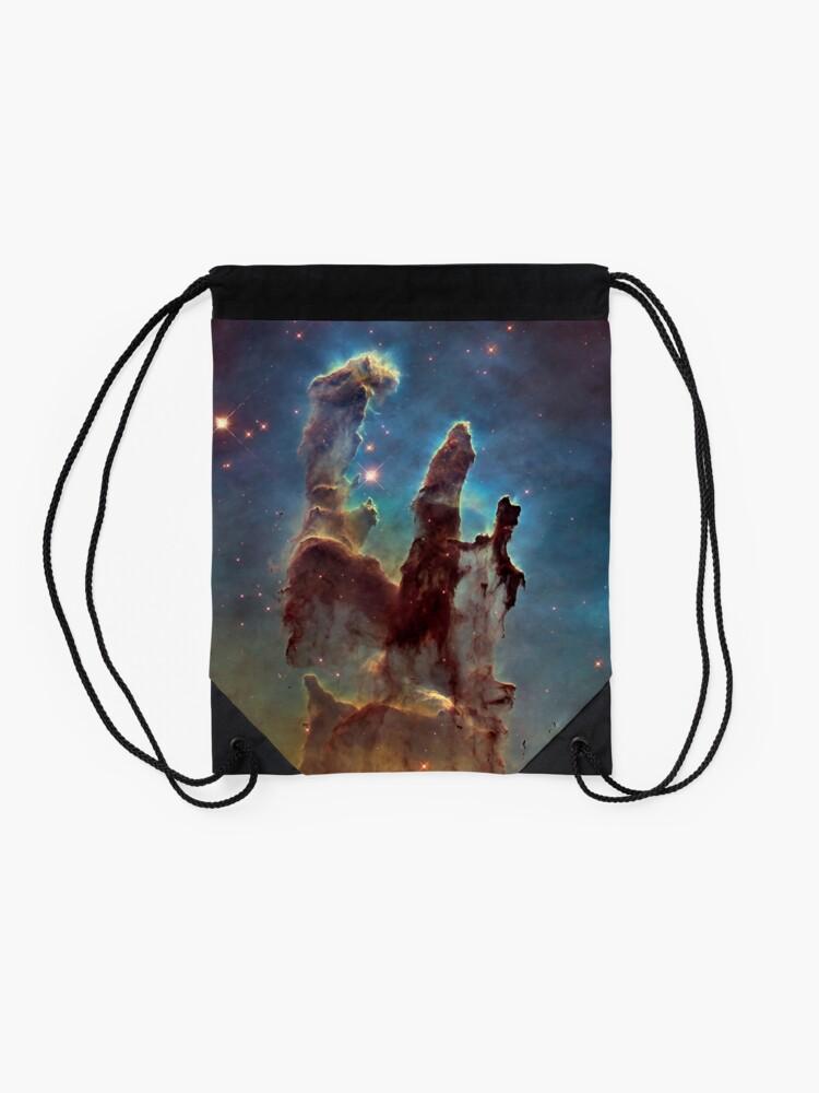 Alternate view of HUBBLE, NASA, Telescope, Pillars of Creation, Stars, Space, Cosmos, Cosmic, Eagle Nebula. Drawstring Bag