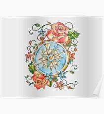 Nautical Compass Poster