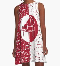 Red and white piano themed A-Line Dress