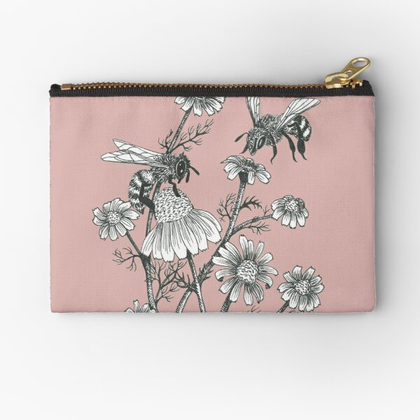 bees and chamomile on dusty pink background Zipper Pouch