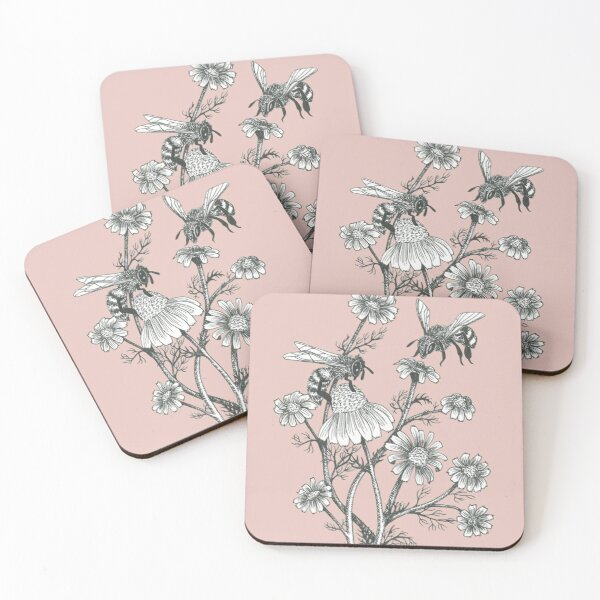 bees and chamomile on dusty pink background Coasters (Set of 4)