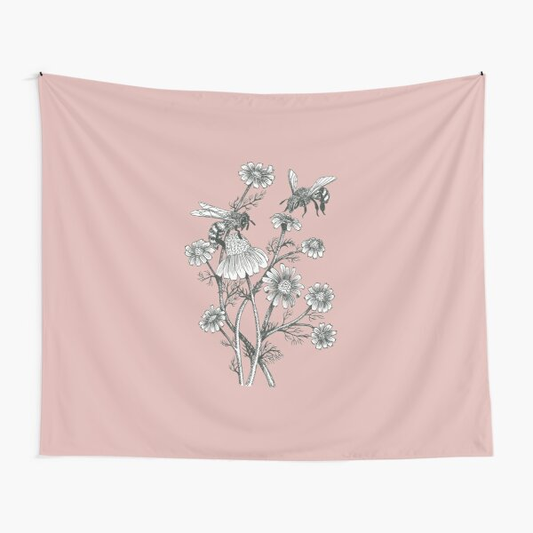 bees and chamomile on dusty pink background Tapestry