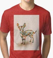 Chihuahua Typographic Watercolor Painting Tri-blend T-Shirt
