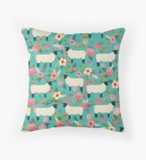 Sheep farm sanctuary florals pattern cute gifts for animal lovers Throw Pillow
