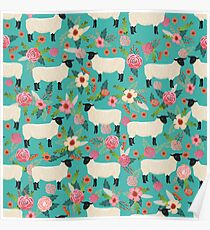 Sheep farm sanctuary florals pattern cute gifts for animal lovers Poster