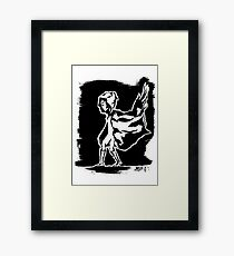 cape in wind design (black and white) Framed Print