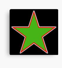 GREEN, STAR, Red outline, environment, environmentalist, ecology, eco, nature, verdant, on Black Canvas Print