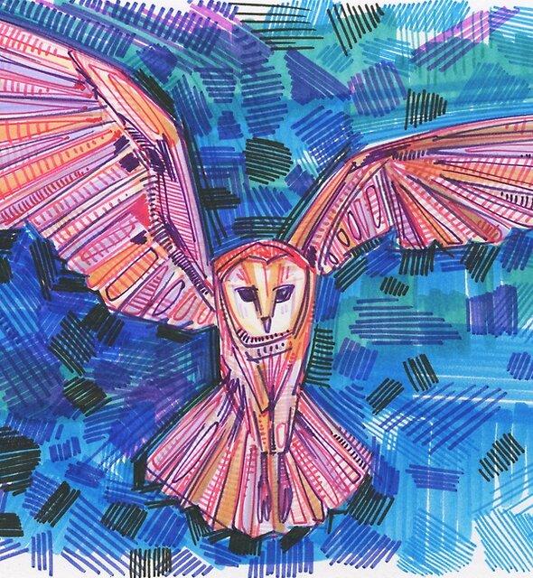 Barn owl in flight drawing - 2017 by Gwenn Seemel