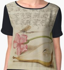 Vintage Flower Calligraphy Alphabet Women's Chiffon Top